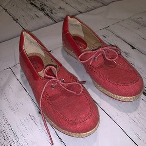 B.O.C red string up loafers size 6.5